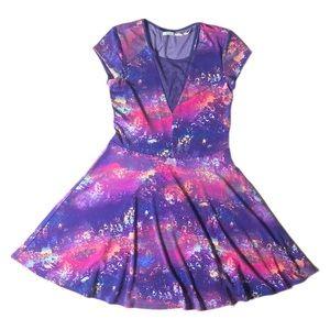 Kimchi Blue M Purple Unicorn Dress Deep V Mesh